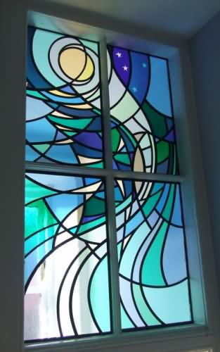Glasgow whiteinch bathroom sea stained glass window for Stained glass bathroom window designs